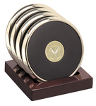 GOLD - BRASS COASTER SET OF 4 W/ WOODEN BASE