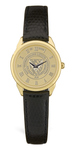 GOLD - LADIES WRIST WATCH W/ BLACK STRAP