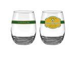 GLASS - STEMLESS WINE GLAS W/ WRAP AROUND DESIGN