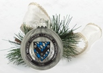 "ORNAMENT - 3.25"" PEPPERMINT GLASS W/ COLLEGE SEAL"
