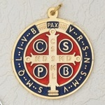 "ST. BENEDICT MEDAL - 4"" ENAMELED GOLD PLATED"