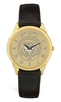 GOLD - MENS WRIST WATCH W/ BLACK STRAP