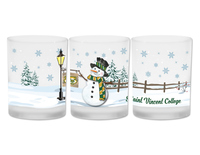 GLASS - FROSTED SNOWMAN WRAP AROUND SCENE