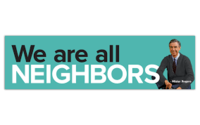 "MISTER ROGERS BUMPER STICKER - ""WE ARE ALL NEIGHBORS"""
